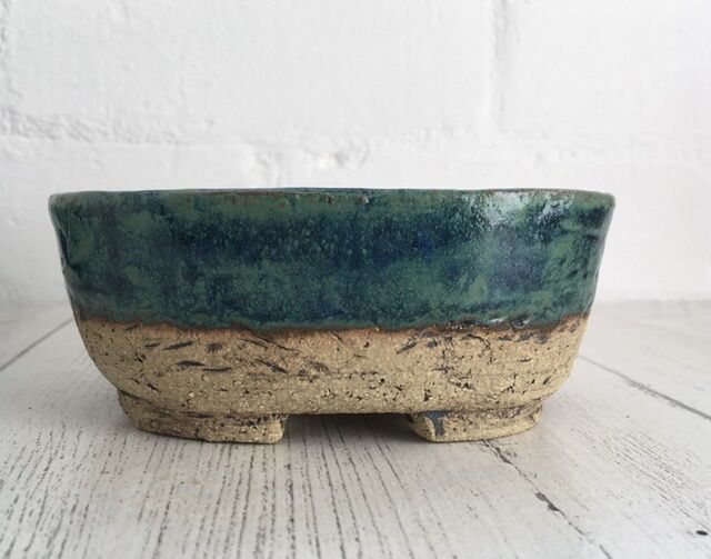Part glazed bonsai pot