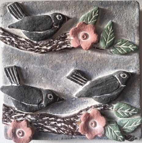 Bird & blossom wall plaque
