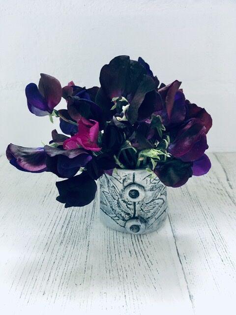 Textile printed sweet pea vase