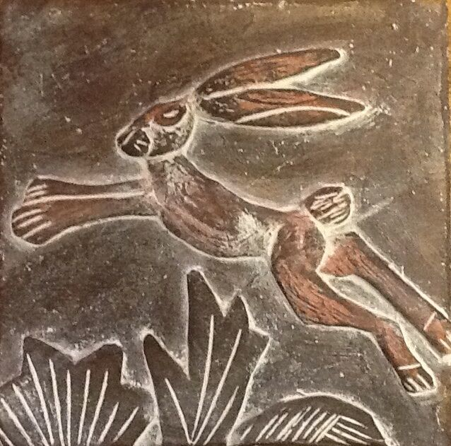 Leaping brown hare