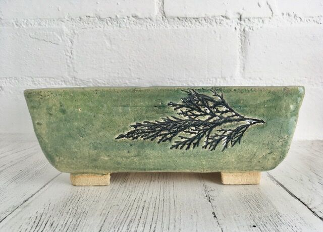 Nature printed rectangular pot