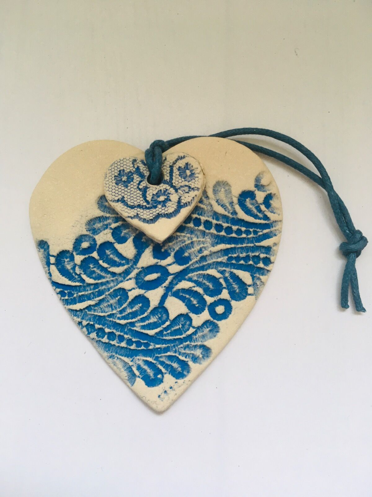 Textile heart hangings