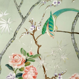 Chinoiserie hand paingint on silk paper with Diane Marsland from English Decoratives