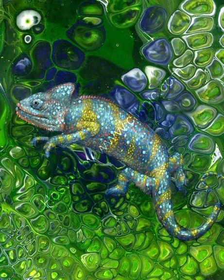 Chameleon Acrylic painting