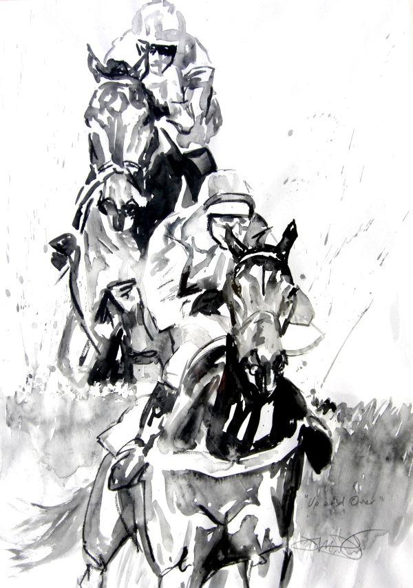 Original charcoal and watercolour: National Hunt