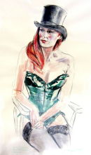 Top Hat and Green corset: life drawing