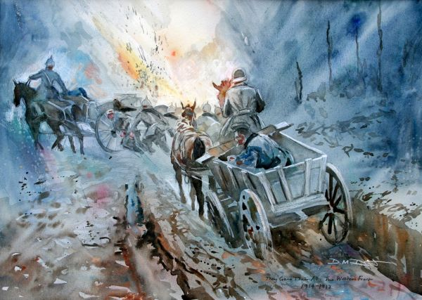 """Original Watercolour: They Gave Their All: """"The Huns"""" Western front 1914-18"""