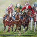 SOLD ...stretch For Home The 2009 Champion hurdle by Adrian Dent **SOLD**