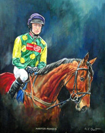 Master Minded and Ruby Walsh oil on canvas 20 x 16 inchesA.J.Dent