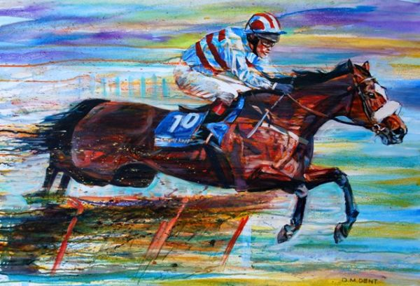 """""""Sublime Flight""""Champion Hurdle winner Sublimity in oils on canvas36x24""""£2750A limited giclee is also available please contact us for details."""