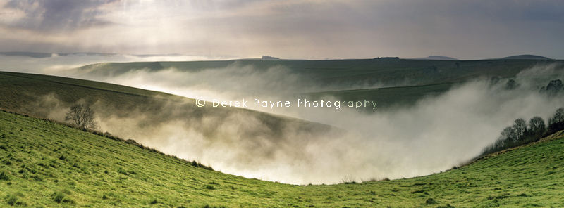Morning mist, Steyning Bowl valley, West Sussex.