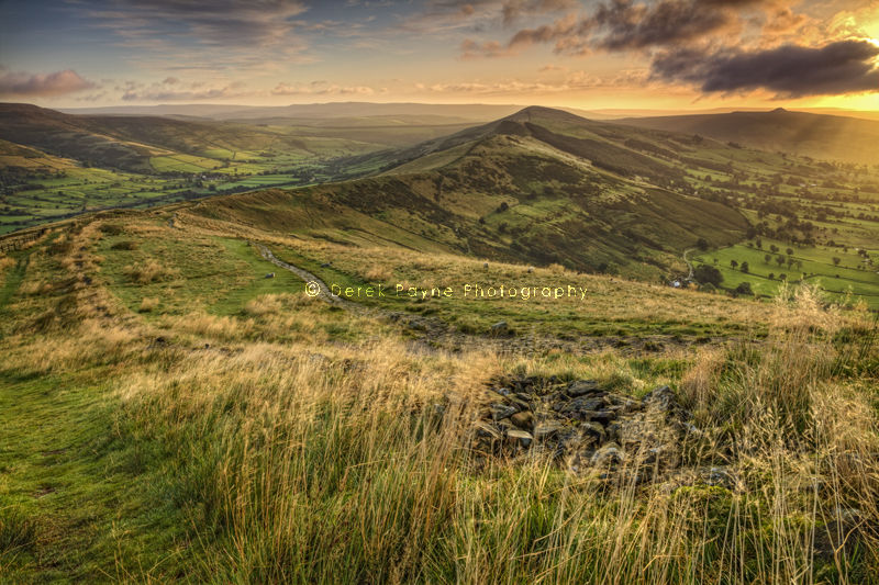 View of Hollins Cross from Mam Tor at Sunrise
