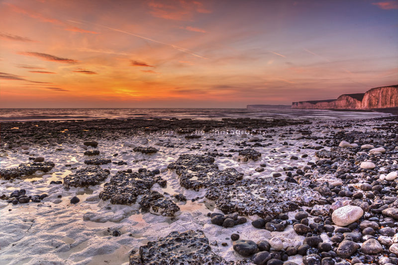 View of Seven Sisters at Sunset