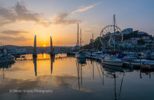 Torquay Harbour and Wheel Sunset T126