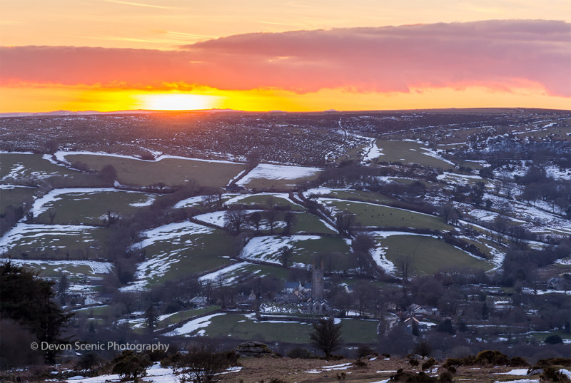 Sunset Over Widecombe In The Moor DM28