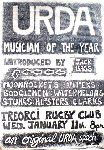 URDA Poster . Treorchy Rugby Club. Musician of the Year.