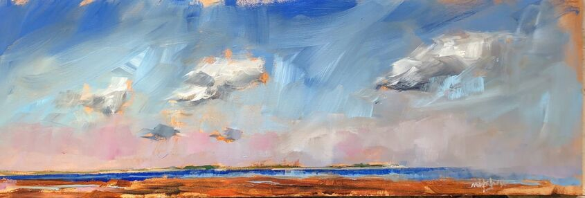 Scattered clouds, blue sky,  oil on board, 60x20cm - £220