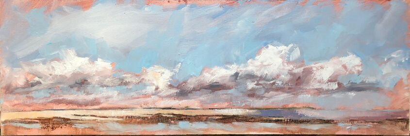 Cloud bank over Sheppey, oil on board, 60x20cm - £220