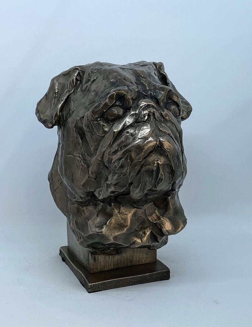 Pug, cold cast bronze
