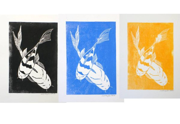 Carp 1, lino print, each image A5 in A4 mount