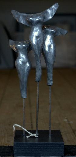 Chorus, cold cast aluminium, approx 40cm tall