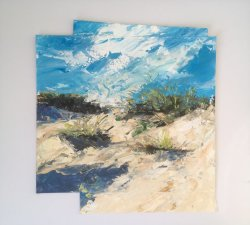 Brancaster Dunes, acrylic on paper, 35x35cm approx (Sold)