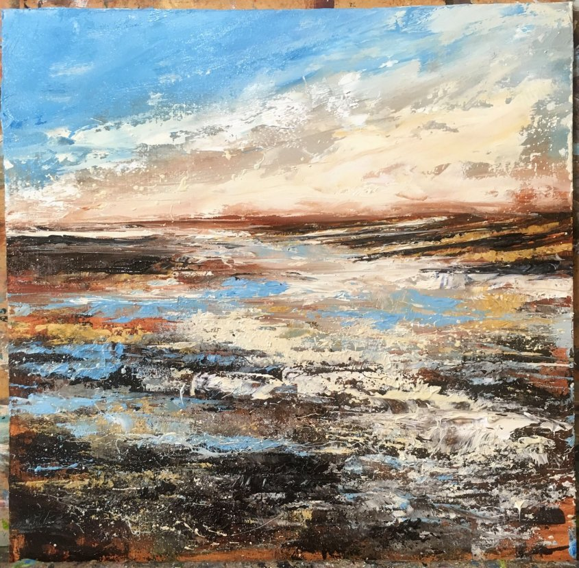 Seasalter - Low Sun, oil on board, 30x30cm (sold)