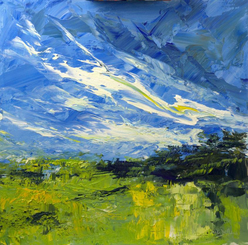 landscape, oil on board, 40x40cm (sold)