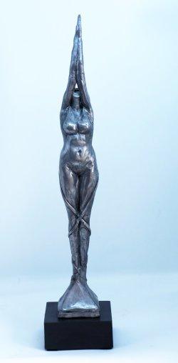 Reach, cold cast aluminium, approx 30cm plus base