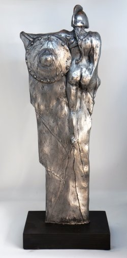 Athena, cold cast aluminium, approx 40cm tall
