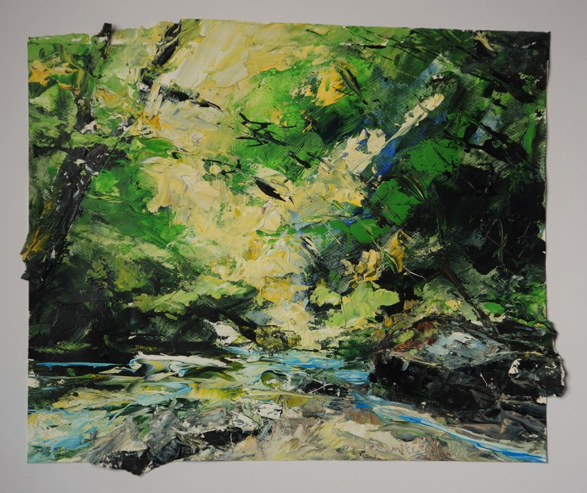 The Fowey at Golitha, acrylic on paper, 50x40cm appox (sold)