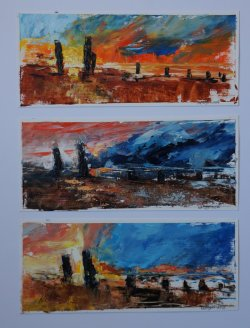 Three Studies for Sunsets, oil on paper