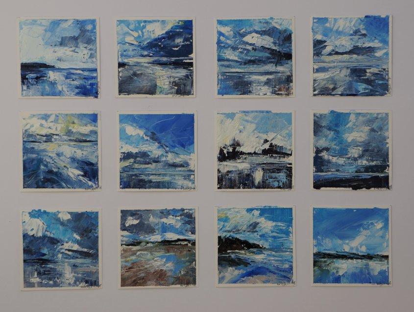 Twelve Studies, oil on paper, each 10x10cm (sold)