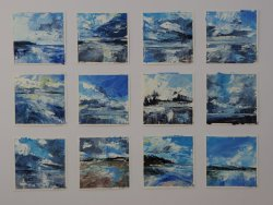 Twelve Studies, oil on paper, each 10x10cm