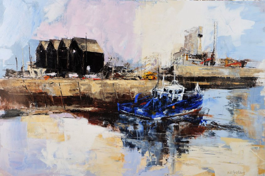 Harbour, oil on board, 90x60cm (sold)