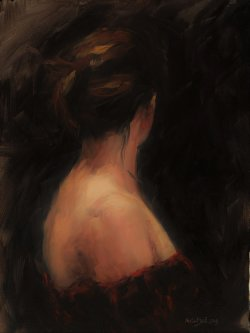 Red Dress, oil on board, 30x40cm, (sold)