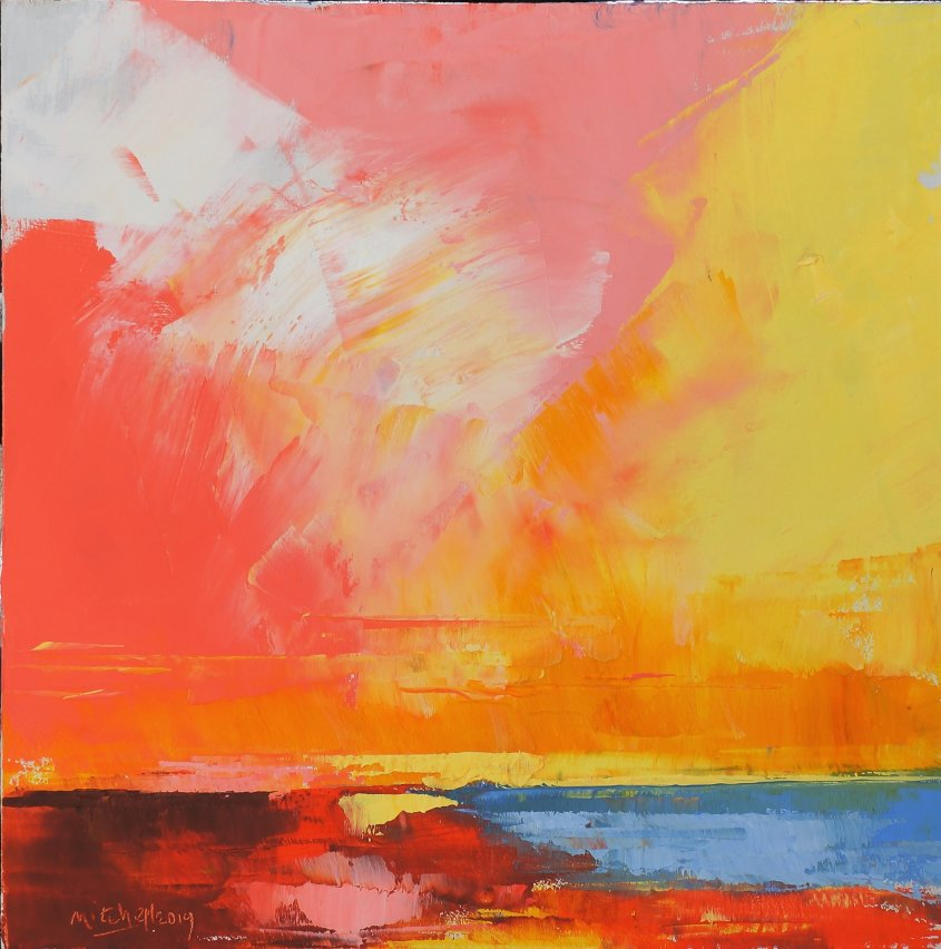 Seasalter Pink and Yellow, oil on board, 30x30cm - £140