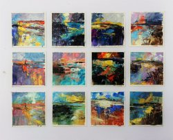 12 Studies, each 10x10cm oil on paper, (sold)