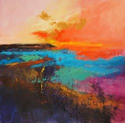 Orange glow over Sheppey, oil on board, 60x60cm