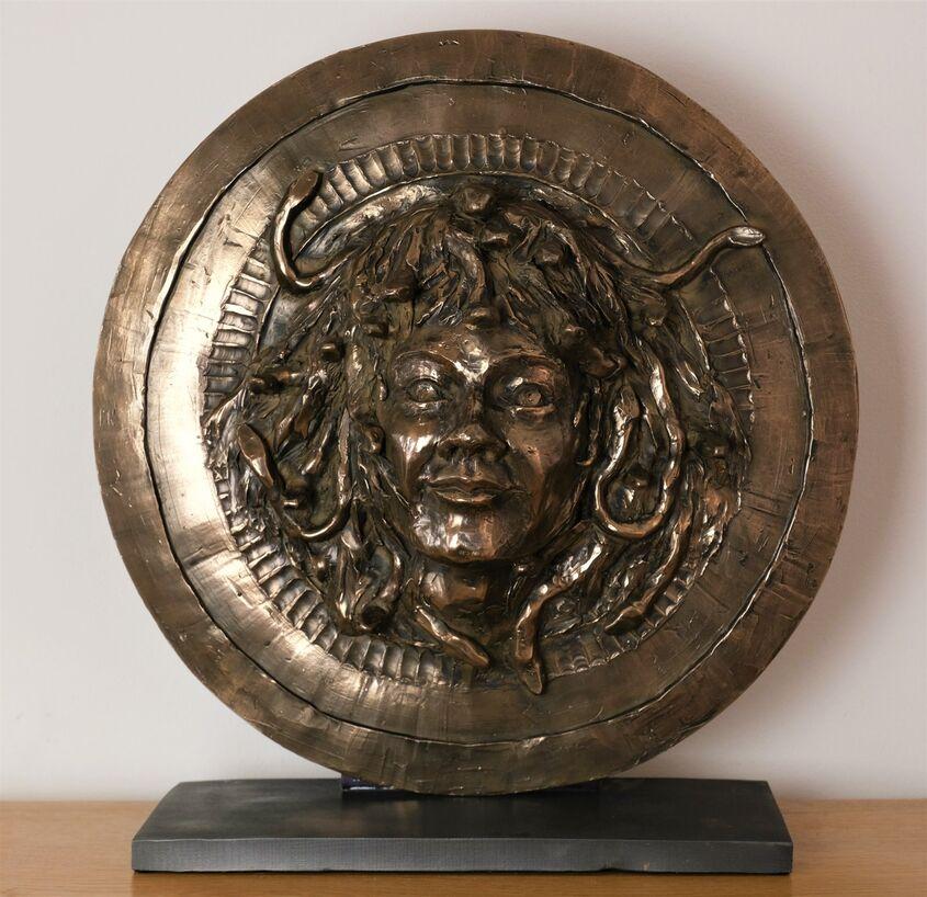 Medusa, cold casst bronze, 45cm diam, £300