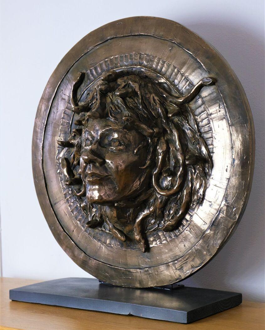 Medusa, cold cast bronze, 45cm diam.  £300