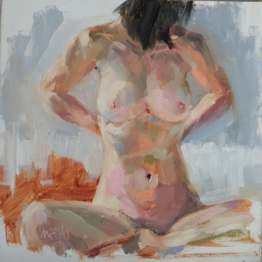 Figure study, oil on board, 20x20cm  sold
