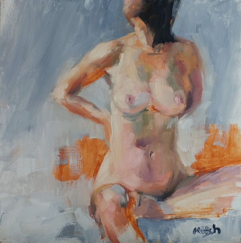 Figure study, oil on board, 20x20cm - £85