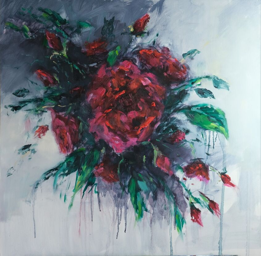 Roses are red, oil on board, 60x60cm - £350