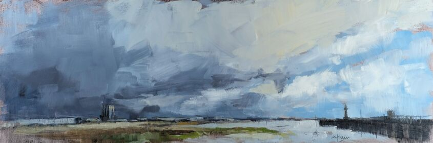 Grey clouds Margate Harbour, oil on board, 60x20cm - £220