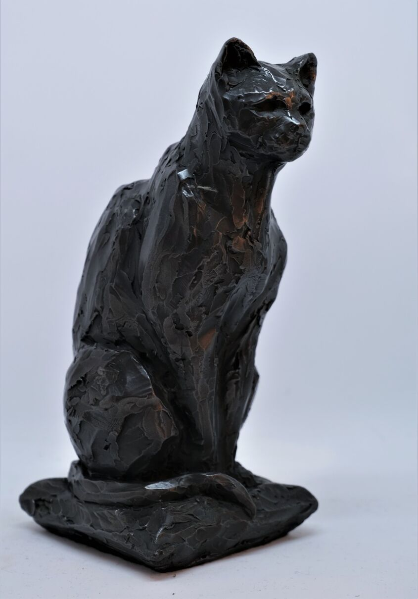 Cat, cold cast iron, approx 25cm tall - £35