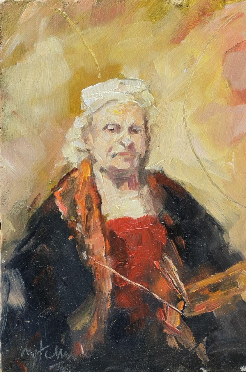 Rembrandt, oil on board, 10x15cm - sold