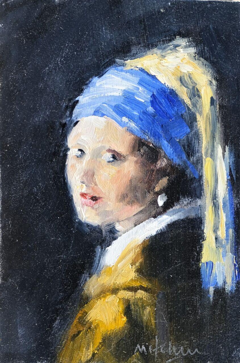 Girl, oil on board,10x15cm - sold