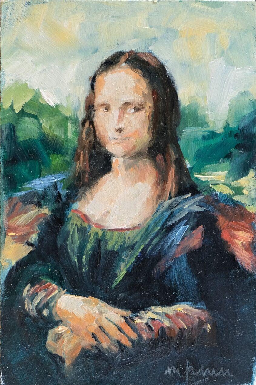 Mona, oil on board, 10x15cm - sold