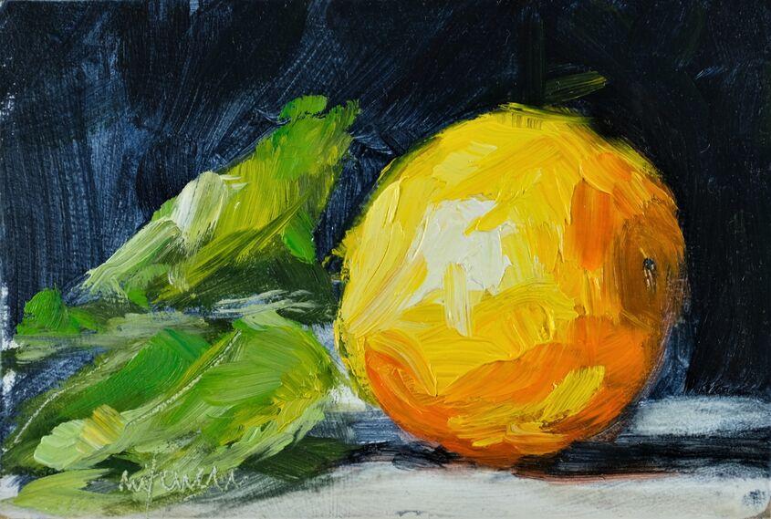 Orange, oil on board, 15x10cm - £55